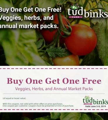 Buy One, Get One Free - Veggies, Herbs, Annual Market Packs
