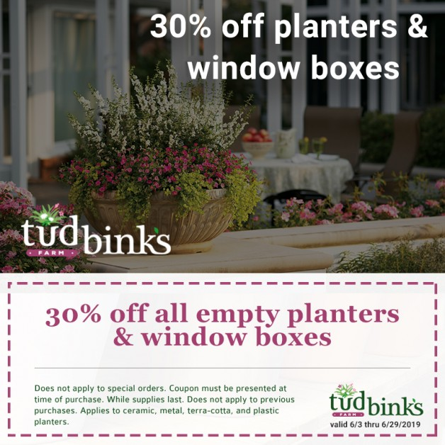 30% Off All Empty Planters & Window Boxes