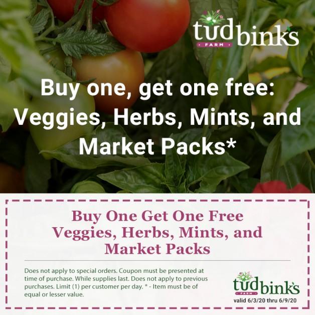 Buy One, Get One Free – Veggies, Herbs, Annual Market Packs