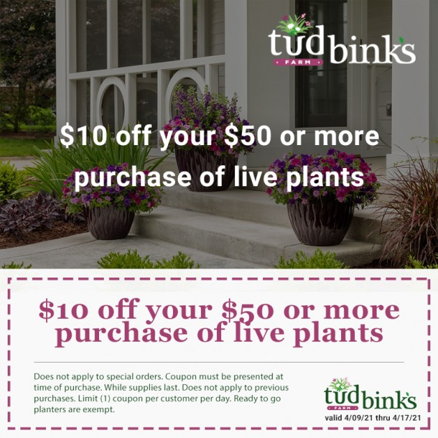 Now's the time to buy – $10 Off $50 Purchase of Live Plants